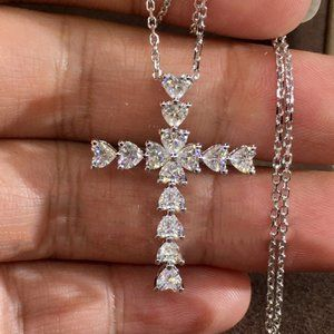 NEW 925 Silver Diamond Heart Cross Necklace